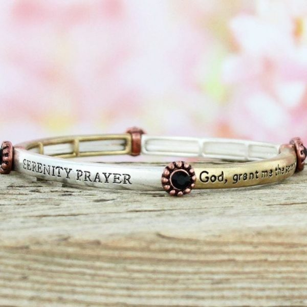 WORN TRI TONE AND BLACK CRYSTAL SERENITY PRAYER STRETCH BRACELET