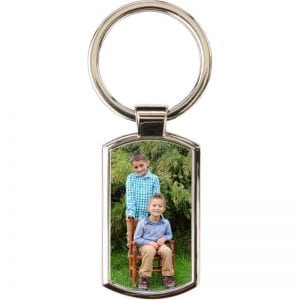 Rectangular Key Ring with rounded corners-Silver metal