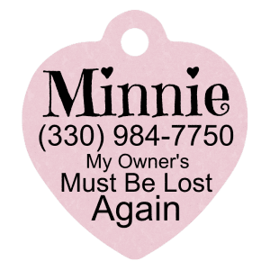 Pet Tag-Size: 1.25″ heart shaped