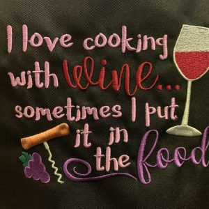 Apron-I Love Cooking with Wine
